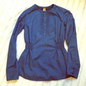 Lucy Tops - Lucy blue striped elastic gathered long sleeve top